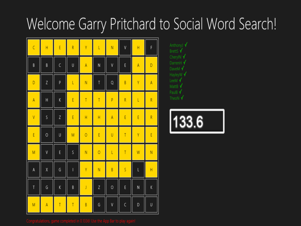 Social word search game complete