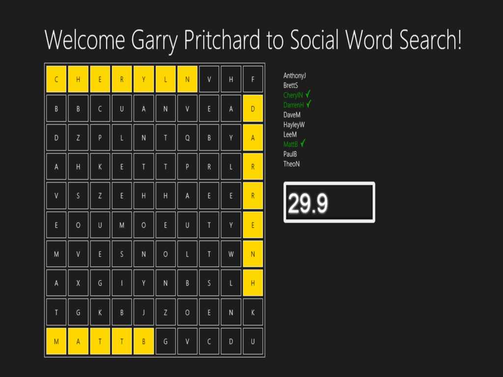 Social word search start game