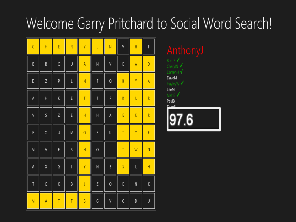 Social word search found word