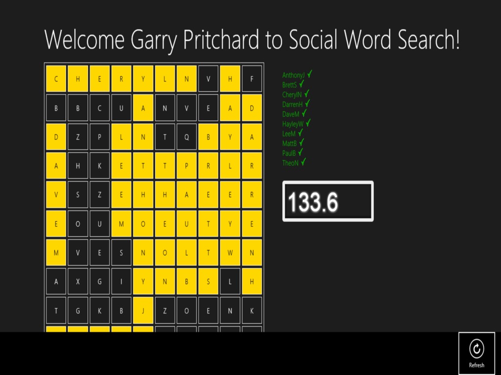 Social word search start new game
